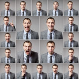 Set of handsome emotional man over dark background Stock Images