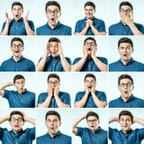 Set of handsome excited man royalty free stock images