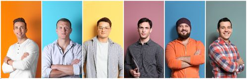 Set with handsome men portraits on color background. Different emotions stock image