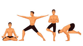 Set with handsome young man in various poses of yoga Stock Photography