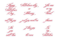 Set of handwritten calligraphic inscriptions for Valentine's Day. Swirl handwritten text. Useful for greeting cards and holiday banners. Vector, EPS 10 Royalty Free Stock Photography