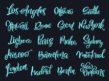 Set of handwritten city names. Hand-lettering calligraphy. Royalty Free Stock Images