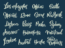 Set of handwritten city names. Hand-lettering calligraphy. Royalty Free Stock Photos