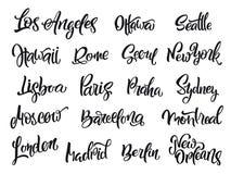 Set of handwritten city names. London, Paris, Berlin, Madrid, New York, Moscow, Barcelona Stock Photography