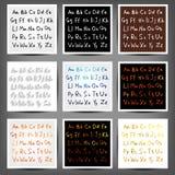 Set of  handwritten English alphabets Stock Images