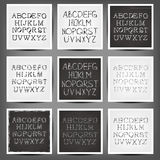 Set of  handwritten English alphabets. Royalty Free Stock Photos