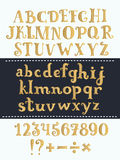 Set of handwritten gold latin letters. Vector script font. Golden alphabet isolated on background. Vectro hand drawn cute funny set of handwritten gold latin Royalty Free Stock Images