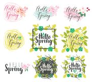 Set of handwritten inscriptions Hello Spring. Vector set of calligraphic and handwritten inscriptions Hello Spring with leaves, flowers, Doodles and nests Stock Photography