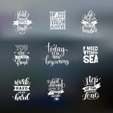 Set of handwritten lettering positive quote about life Royalty Free Stock Photo