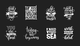 Set of handwritten lettering positive quote about life Royalty Free Stock Images