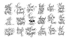 Set of handwritten lettering positive quote about love Royalty Free Stock Photography