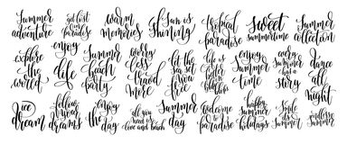 Set of 25 handwritten lettering positive quote Royalty Free Stock Image
