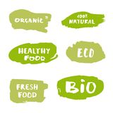 Set of handwritten organic, bio, eco lettering.  Vector illustration. Set of handwritten organic vector badges. Fresh Food, Eco, Bio, Organic, Healthy Food, 100 Stock Photo