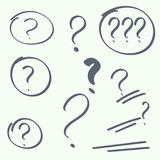 Set of handwritten question marks Stock Photos