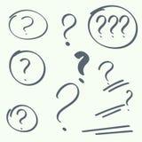 Set of handwritten question marks Stock Photos