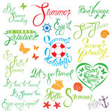 Set of handwritten text: Endless Summer, enjoy it, let`s go trav. Calligraphy elements for season holiday, travel or vacations design Stock Photos