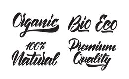 Set of Handwritten type lettering of Eco, Organic, Bio, Premium Quality, Natural products. Vector illustration: Set of Handwritten type lettering of Eco, Organic Royalty Free Stock Image