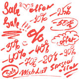 Set of handwritten words sale, special offer and numerals 0-9% Stock Photos
