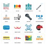 Set of handyman, 50 years anniversary, cab service, skull and crossbones, 20 year, shoe print, judicial, educational institute, ho. Set Of 16 simple  icons such Royalty Free Stock Photography