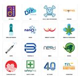 Set of handyman, 40 years, canadian leaf, nerd, vape, breast cancer, girls bathroom, skull and crossbones, 30 year icons. Set Of 16 simple  icons such as Stock Photos