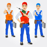 Set of handymen holding green drill Royalty Free Stock Photography