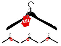 Set of hangers with sale tag. Vector illustration Royalty Free Stock Photo