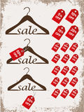 Set of hangers with tags and word sale Royalty Free Stock Photo