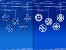 Set of Hanging balls on bluish background Royalty Free Stock Images