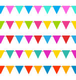 Set Hanging Bunting Pennants, Colorful Decoration Stock Photo