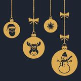Set of hanging Christmas balls with reindeer, santa claus and snowman symbol. Vector illustration Stock Images