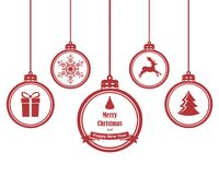 Set of hanging christmas balls with symbols such as snowflake, reindeer, gift and Christmas tree. Isolated on white background Royalty Free Stock Photography