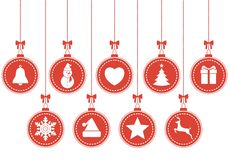 Set of hanging Christmas baubles with symbols Royalty Free Stock Images