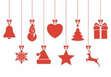 Set of hanging Christmas baubles with symbols Stock Photography