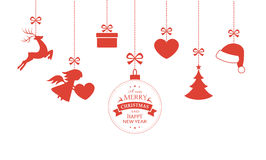 Set of hanging Christmas ornaments. Various hanging Christmas ornaments such as Christmas bauble, santa hat, reindeer, angel, heart, present and Christmas tree Royalty Free Stock Photography