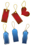 Set of hanging color shop tags Stock Photography