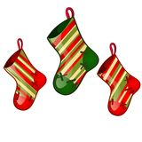 Set of hanging colored sock red and green colors isolated on white background. Sketch for greeting card, festive poster. Party invitations.The attributes of Royalty Free Stock Image