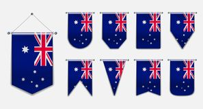 Set of hanging flags of the AUSTRALIA with textile texture.Vertical Template pennant for background, banner, web, logo,award, achi vector illustration