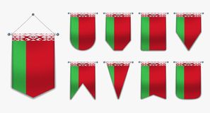 Set of hanging flags of the BELARUS with textile texture. Diversity shapes of the national flag country. Vertical Template Pennant royalty free illustration