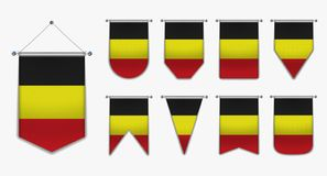 Collection hanging flags of the BELGIUM with textile texture. Diversity shapes of the flag country. Vertical Template Pennant. Set of hanging flags of the stock illustration