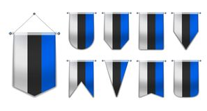 Set of hanging flags of the Estonia with textile texture. Diversity shapes of the national flag country. Vertical Template Pennant stock illustration