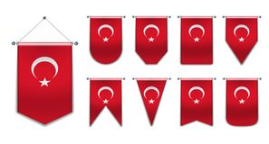 Set of hanging flags of the TURKEY with textile texture.Diversity shapes of the national flag country.Vertical Template Pennant. Set of hanging flags of the royalty free stock image