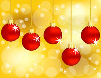 Set of Hanging Red Christmas Ornaments. On a Golden Background Royalty Free Stock Photo