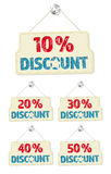 Set of hanging signs with 10-50 percent discounts Stock Photo