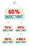 Set of hanging signs with 60-90 percent discounts Royalty Free Stock Images