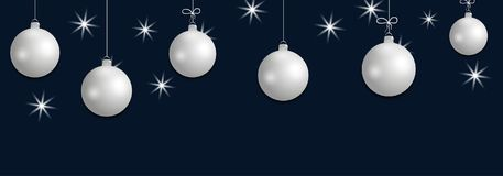 Set hanging silver Christmas balls. Decorative baubles elements on dark blue background for holiday design. Vector. Illustration Stock Image