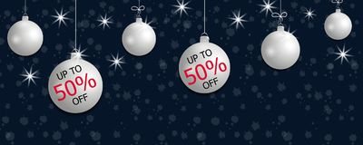 Set hanging silver Christmas balls and discount. Decorative baubles elements on dark blue background for holiday sale design. Vect Stock Photo