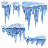 Set of hanging thawing icicles of a blue shade Stock Image