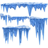 Set of hanging thawing icicles of a blue shade Royalty Free Stock Image
