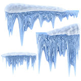 Set of hanging thawing icicles of a blue shade Stock Photography