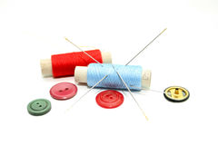 Set of hanks of multi-colored threads for sewing Stock Photos